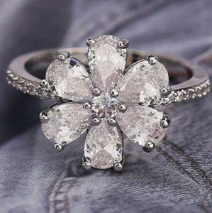 New 925 Silver Flower Wedding Ring